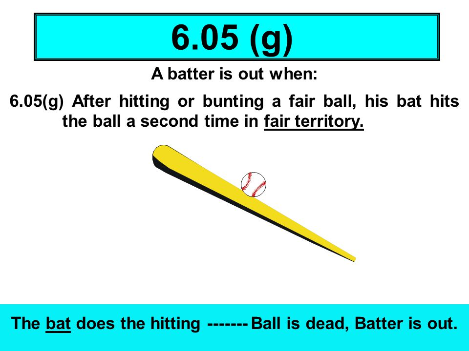 A batter is out when: 6.05(g) After hitting or bunting a fair ball, his bat hits the ball a second time in fair territory. The bat does the hitting --