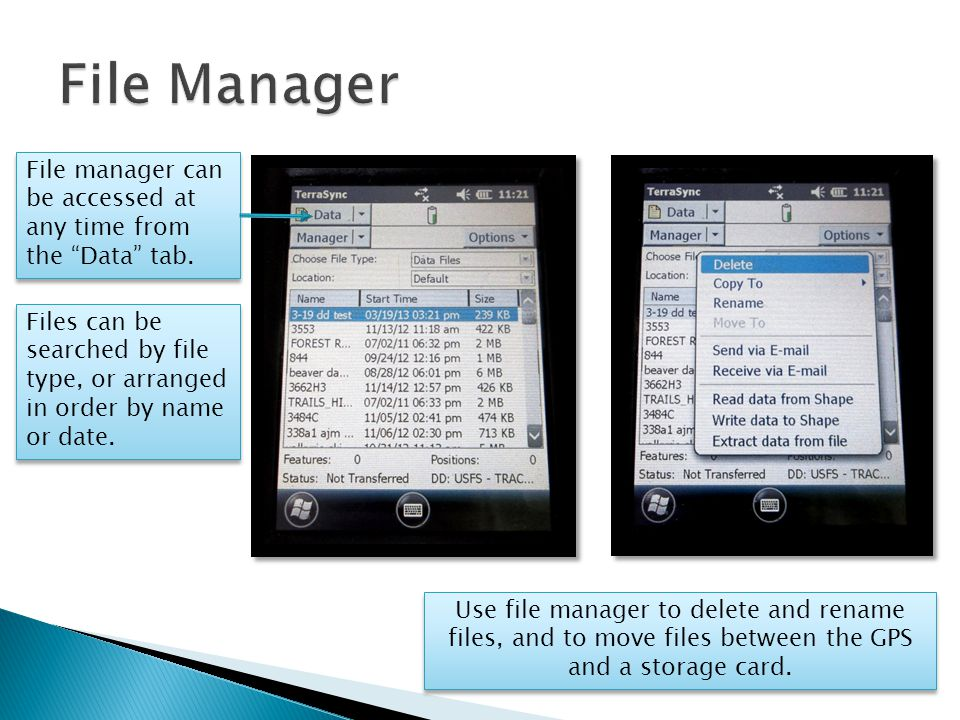 File manager can be accessed at any time from the Data tab.