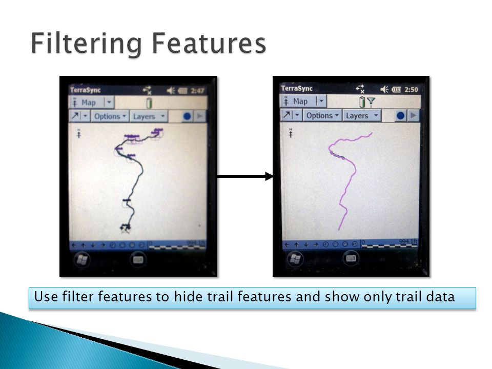 Use filter features to hide trail features and show only trail data