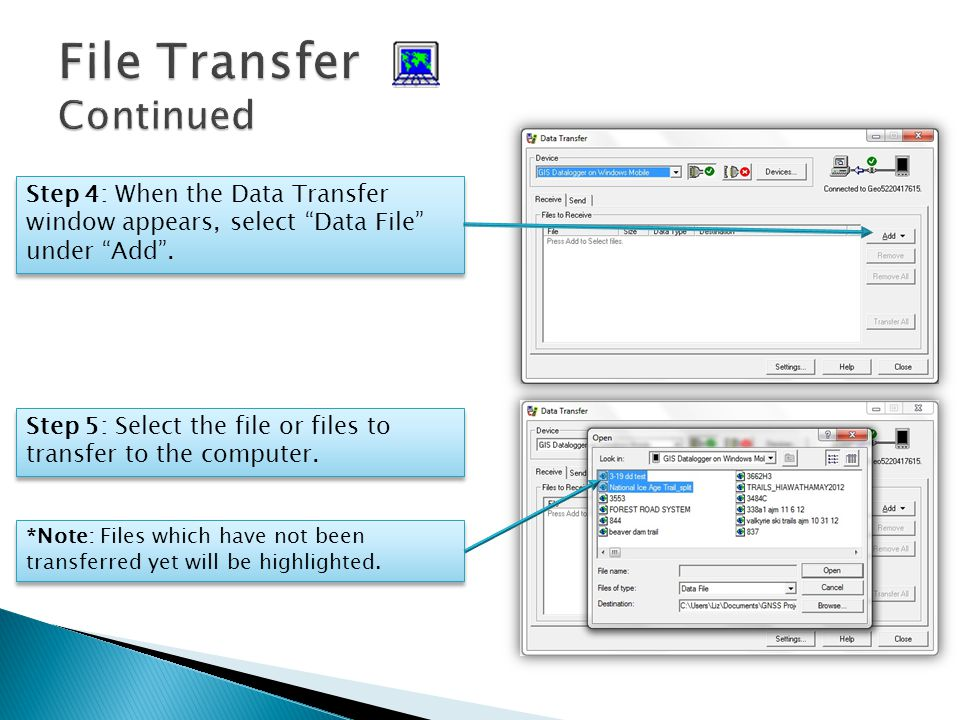 Step 4: When the Data Transfer window appears, select Data File under Add.