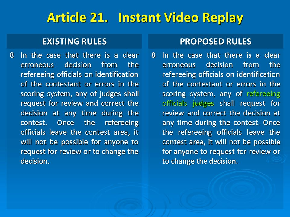 Article 21. Instant Video Replay EXISTING RULES PROPOSED RULES 8 In the case that there is a clear erroneous decision from the refereeing officials on