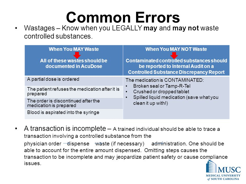 Common Errors Wastages – Know when you LEGALLY may and may not waste controlled substances. A transaction is incomplete – A trained individual should