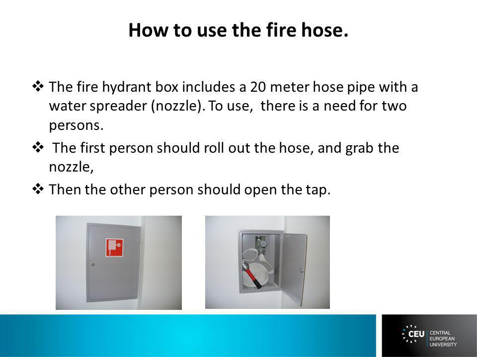 How to use the fire hose.