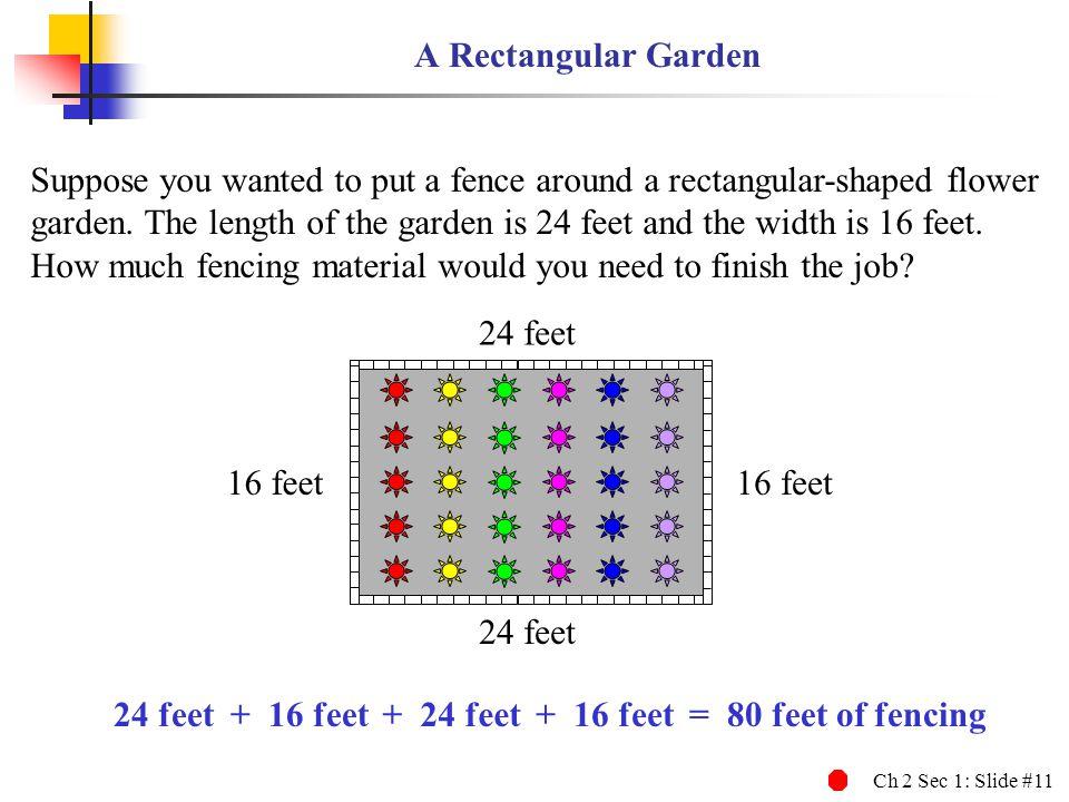 Ch 2 Sec 1: Slide #11 A Rectangular Garden 24 feet Suppose you wanted to put a fence around a rectangular-shaped flower garden. The length of the gard