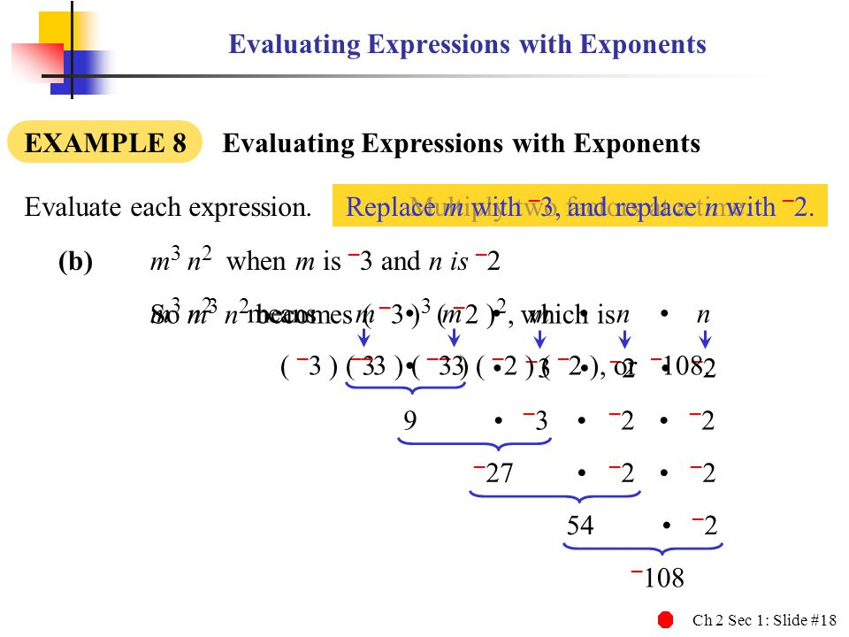 Ch 2 Sec 1: Slide #18 Multiply two factors at a time.Replace m with – 3, and replace n with – 2. Evaluating Expressions with Exponents EXAMPLE 8 Evalu