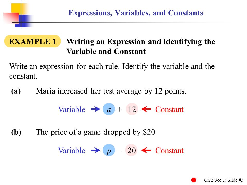 Ch 2 Sec 1: Slide #3 Expressions, Variables, and Constants EXAMPLE 1 Writing an Expression and Identifying the Variable and Constant (a)Maria increased her test average by 12 points.