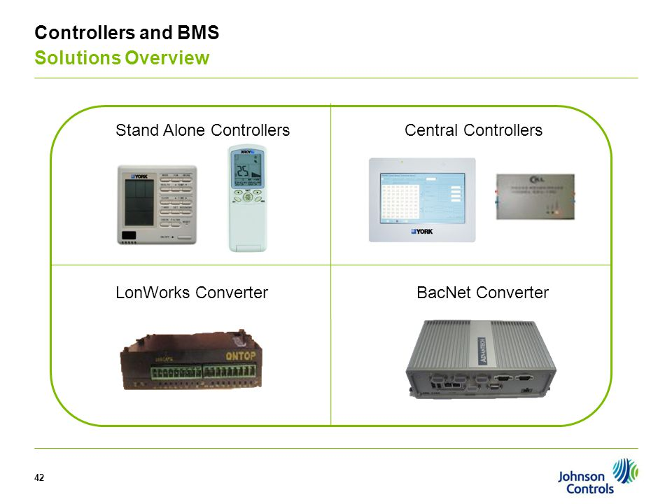 42 Controllers and BMS Solutions Overview Stand Alone ControllersCentral Controllers BacNet ConverterLonWorks Converter