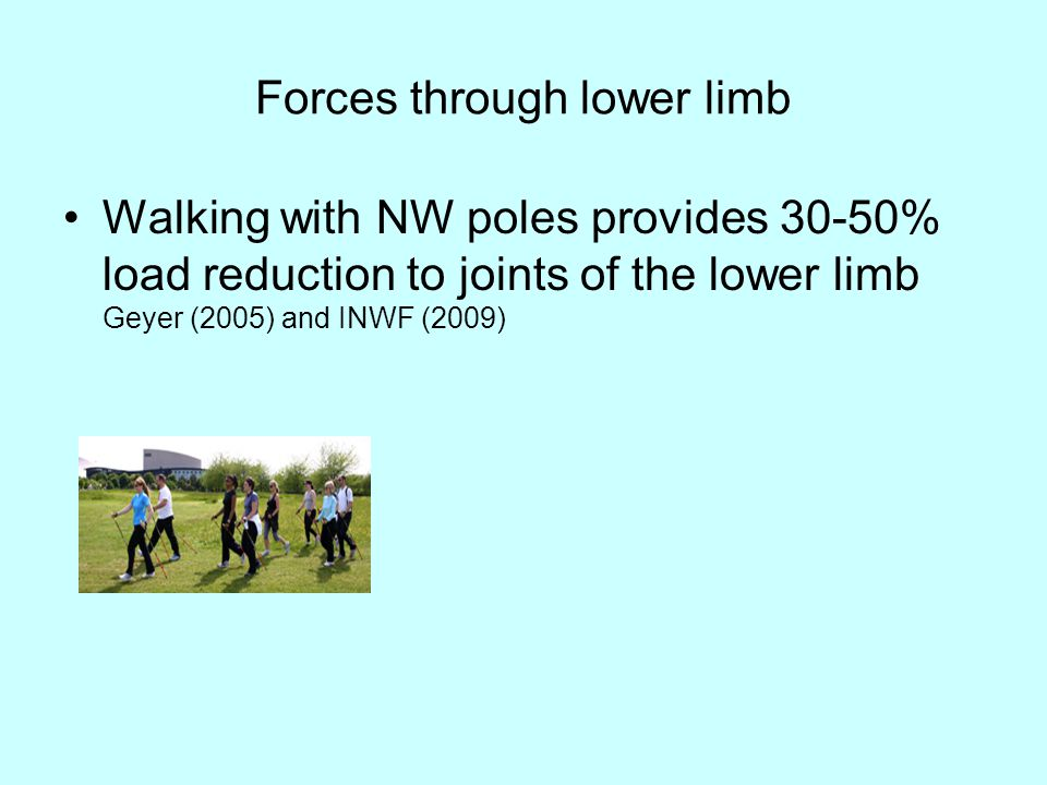 Effects of walking poles on lower extremity gait mechanics All walking with poles conditions significantly increased walking speed, stride length, and stance time compared with the no poles condition.