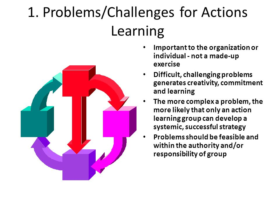 1. Problems/Challenges for Actions Learning Important to the organization or individual - not a made-up exercise Difficult, challenging problems gener