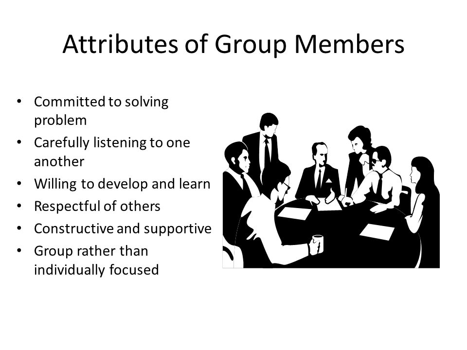 Attributes of Group Members Committed to solving problem Carefully listening to one another Willing to develop and learn Respectful of others Construc