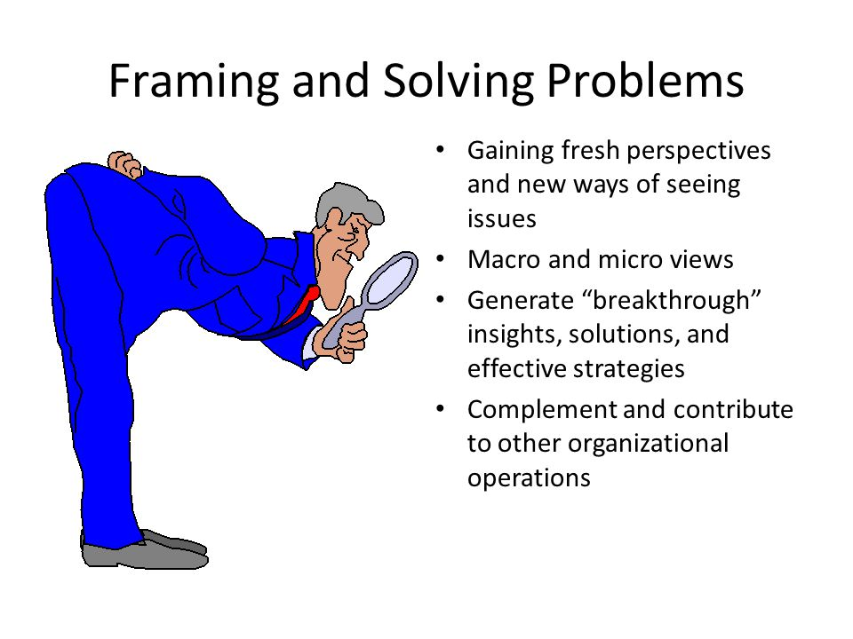 Framing and Solving Problems Gaining fresh perspectives and new ways of seeing issues Macro and micro views Generate breakthrough insights, solutions,