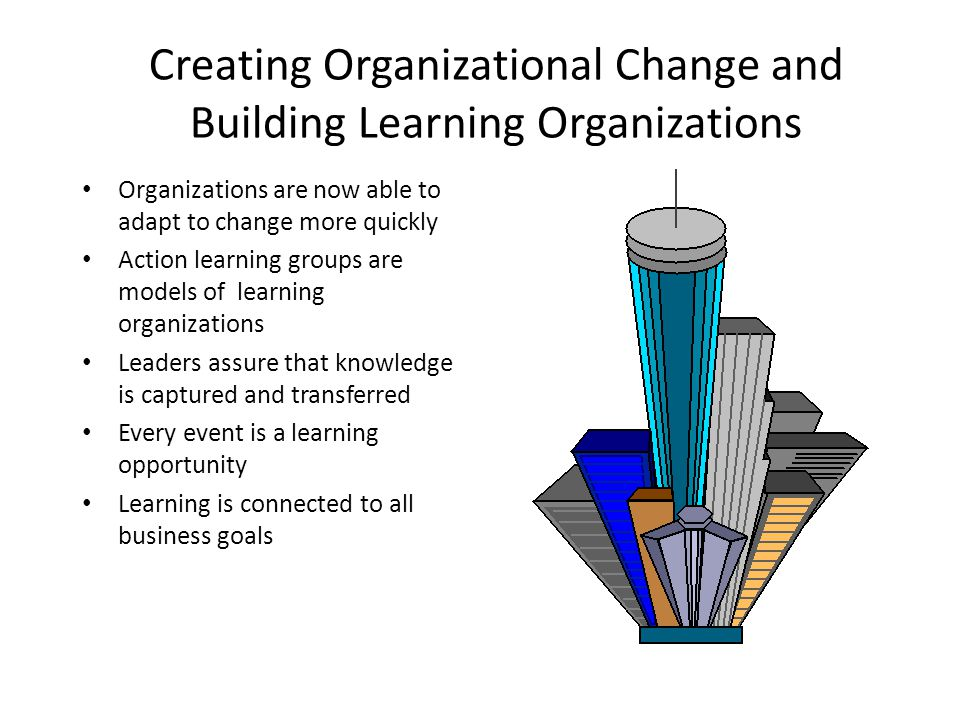 Creating Organizational Change and Building Learning Organizations Organizations are now able to adapt to change more quickly Action learning groups a