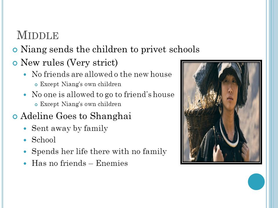 M IDDLE Niang sends the children to privet schools New rules (Very strict) No friends are allowed o the new house Except Niangs own children No one is