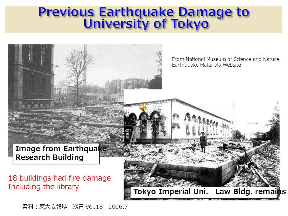 From National Museum of Science and Nature Earthquake Materials Website 18 buildings had fire damage Including the library vol.18 2006.7 Image from Earthquake Research Building Tokyo Imperial Uni.