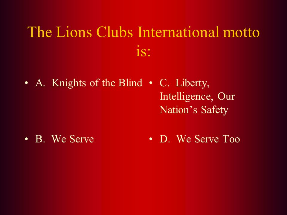 Answer: Helen Keller addressed the Lions at the International Convention in 1925 held in (D.) Cedar Point, Ohio, challenging the Lions to become knights of the blind in the crusade against darkness.