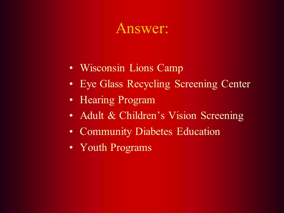 Name the six State Projects that are supported through the Wisconsin Lions Foundation.