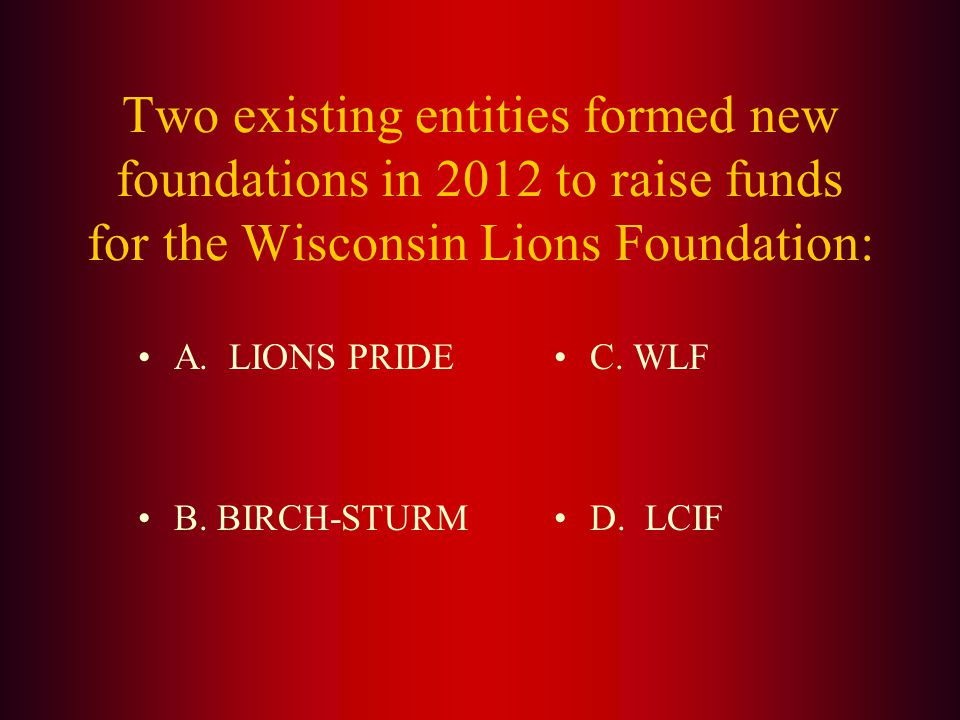 Answer: Wisconsin Lions Camp Eye Glass Recycling Screening Center Hearing Program Adult & Childrens Vision Screening Community Diabetes Education Youth Programs