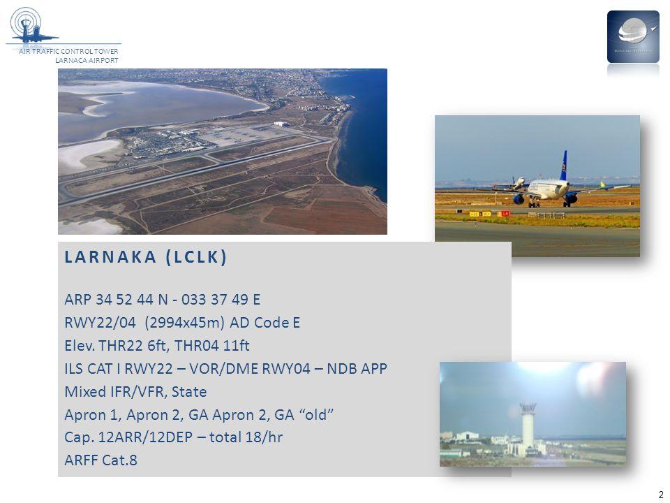 AIR TRAFFIC CONTROL TOWER LARNACA AIRPORT 2 LARNAKA (LCLK) ARP 34 52 44 N - 033 37 49 E RWY22/04 (2994x45m) AD Code E Elev.