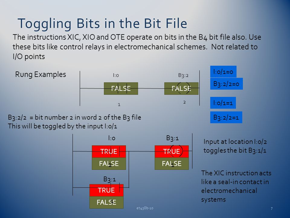 TRUE FALSE TRUE FALSE Toggling Bits in the Bit FileToggling Bits in the Bit File et438b-107 The instructions XIC, XIO and OTE operate on bits in the B