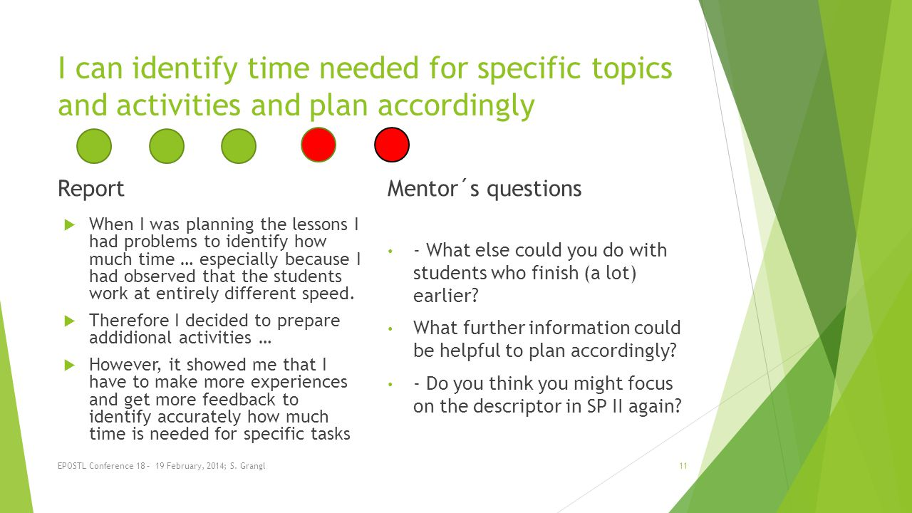 I can identify time needed for specific topics and activities and plan accordingly Report When I was planning the lessons I had problems to identify how much time … especially because I had observed that the students work at entirely different speed.
