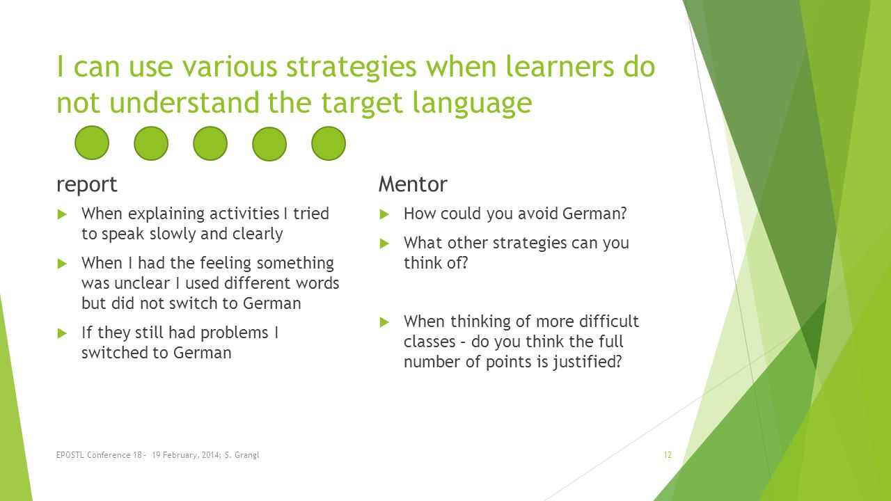 I can use various strategies when learners do not understand the target language report When explaining activities I tried to speak slowly and clearly When I had the feeling something was unclear I used different words but did not switch to German If they still had problems I switched to German Mentor How could you avoid German.