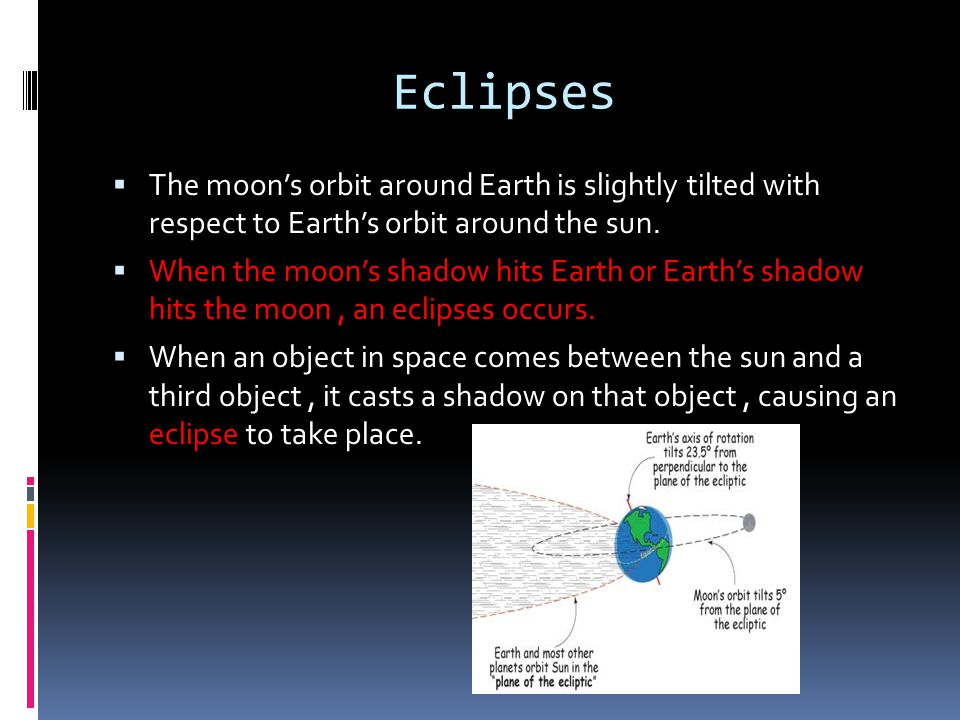 Eclipses The moons orbit around Earth is slightly tilted with respect to Earths orbit around the sun. When the moons shadow hits Earth or Earths shado