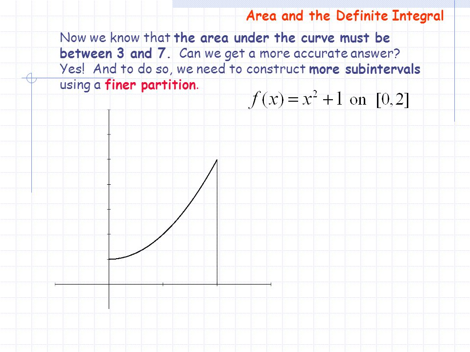 Now we know that the area under the curve must be between 3 and 7. Can we get a more accurate answer? Yes! And to do so, we need to construct more sub