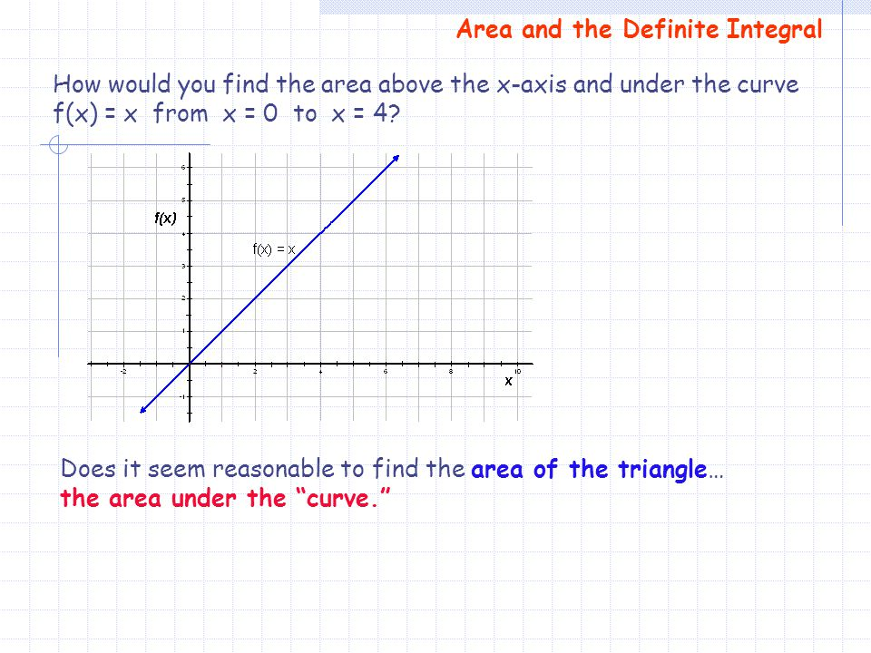 Area and the Definite Integral How would you find the area above the x-axis and under the curve f(x) = x from x = 0 to x = 4? Does it seem reasonable