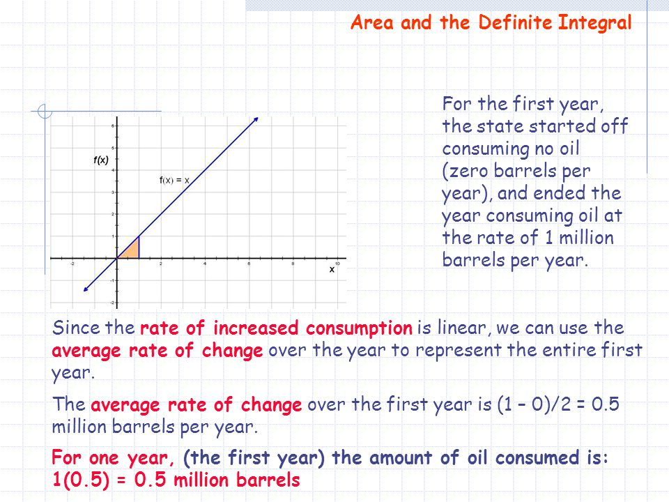 The average rate of change over the first year is (1 – 0)/2 = 0.5 million barrels per year. Area and the Definite Integral For the first year, the sta
