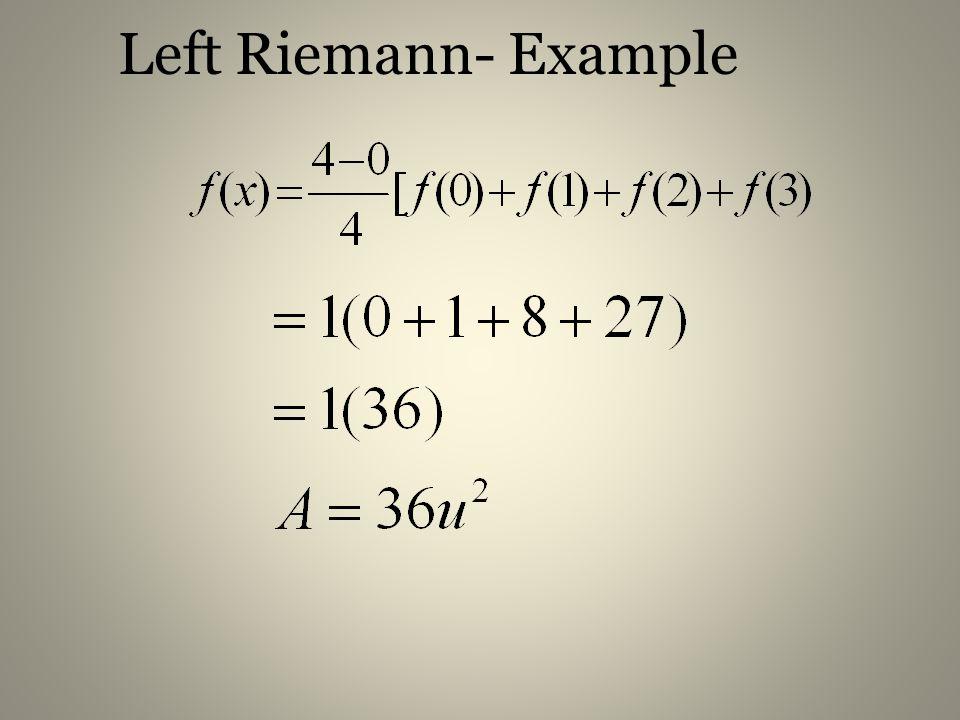 Left Riemann- Example