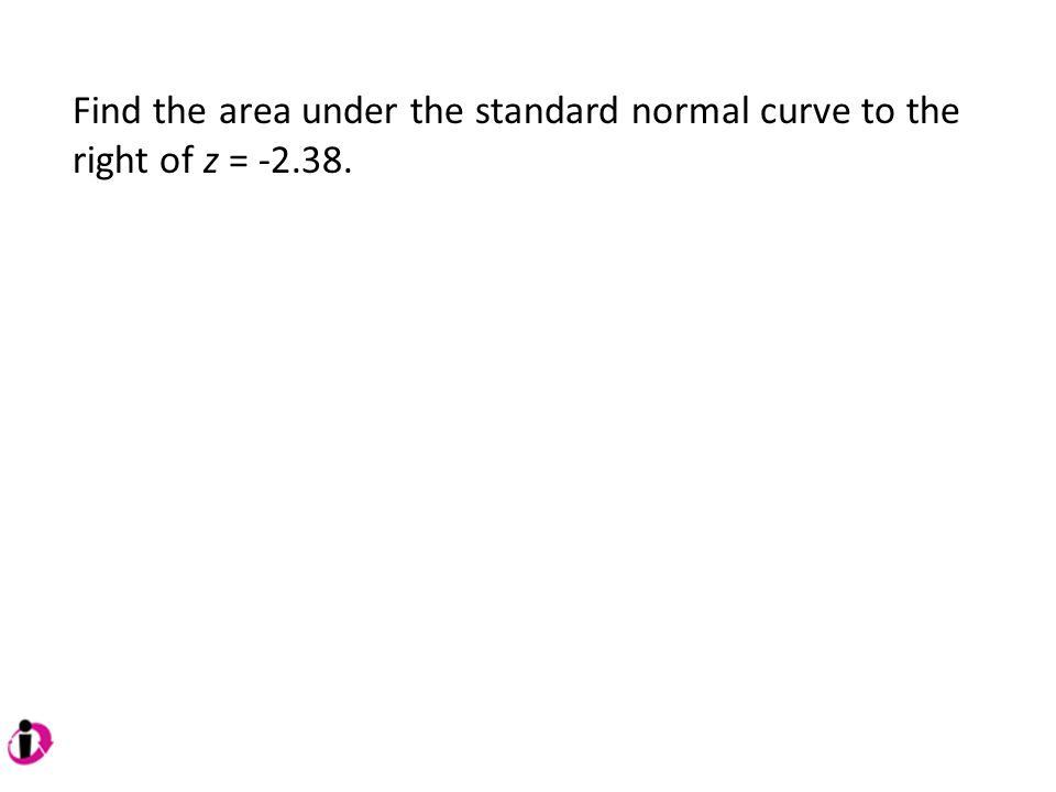Find the area under the standard normal curve to the right of z = -2.38.