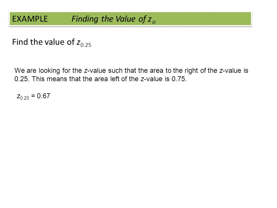 Find the value of z 0.25 EXAMPLE Finding the Value of z We are looking for the z-value such that the area to the right of the z-value is 0.25. This me
