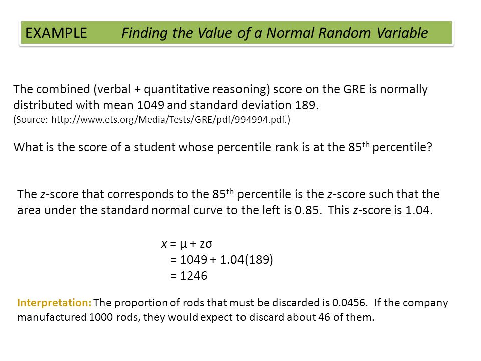 The combined (verbal + quantitative reasoning) score on the GRE is normally distributed with mean 1049 and standard deviation 189. (Source: http://www