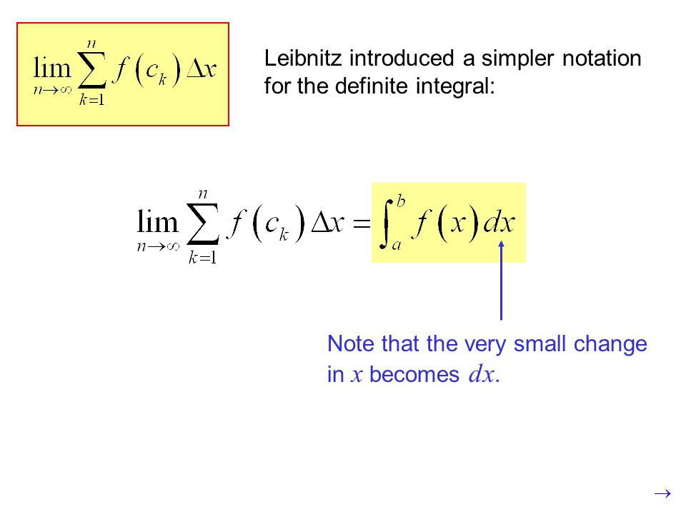 Leibnitz introduced a simpler notation for the definite integral: Note that the very small change in x becomes dx.