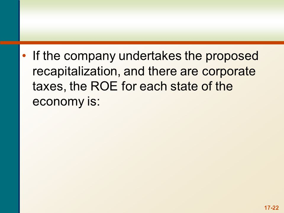 17-22 If the company undertakes the proposed recapitalization, and there are corporate taxes, the ROE for each state of the economy is: