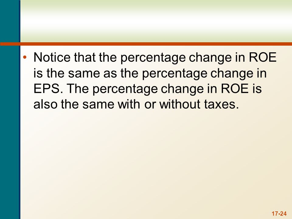 17-24 Notice that the percentage change in ROE is the same as the percentage change in EPS. The percentage change in ROE is also the same with or with