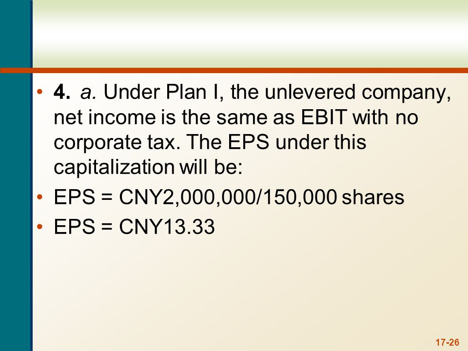 17-26 4.a. Under Plan I, the unlevered company, net income is the same as EBIT with no corporate tax. The EPS under this capitalization will be: EPS =