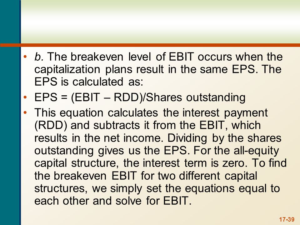 17-39 b. The breakeven level of EBIT occurs when the capitalization plans result in the same EPS. The EPS is calculated as: EPS = (EBIT – RDD)/Shares