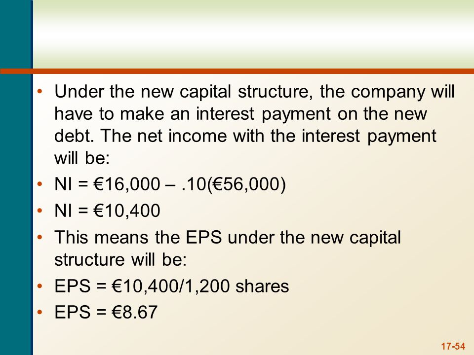 17-54 Under the new capital structure, the company will have to make an interest payment on the new debt. The net income with the interest payment wil