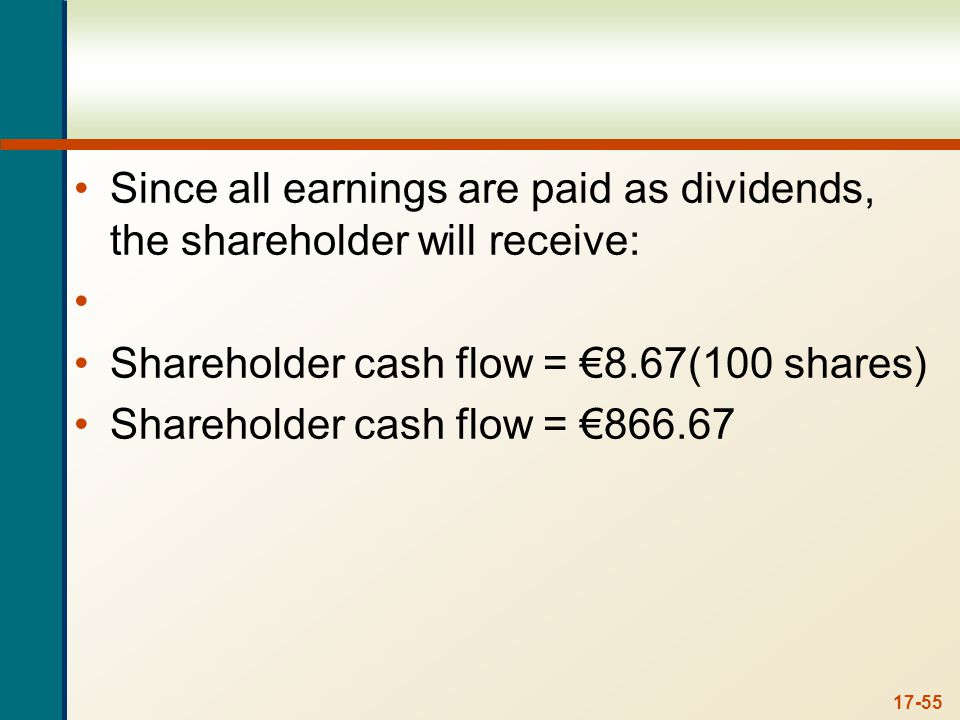 17-55 Since all earnings are paid as dividends, the shareholder will receive: Shareholder cash flow = 8.67(100 shares) Shareholder cash flow = 866.67