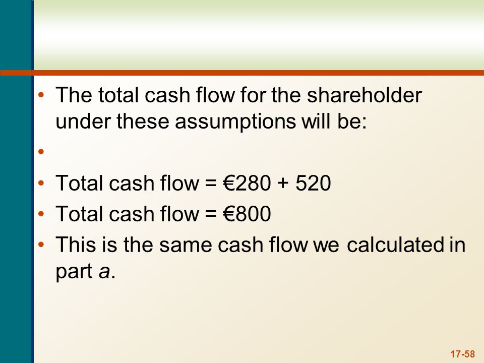 17-58 The total cash flow for the shareholder under these assumptions will be: Total cash flow = 280 + 520 Total cash flow = 800 This is the same cash