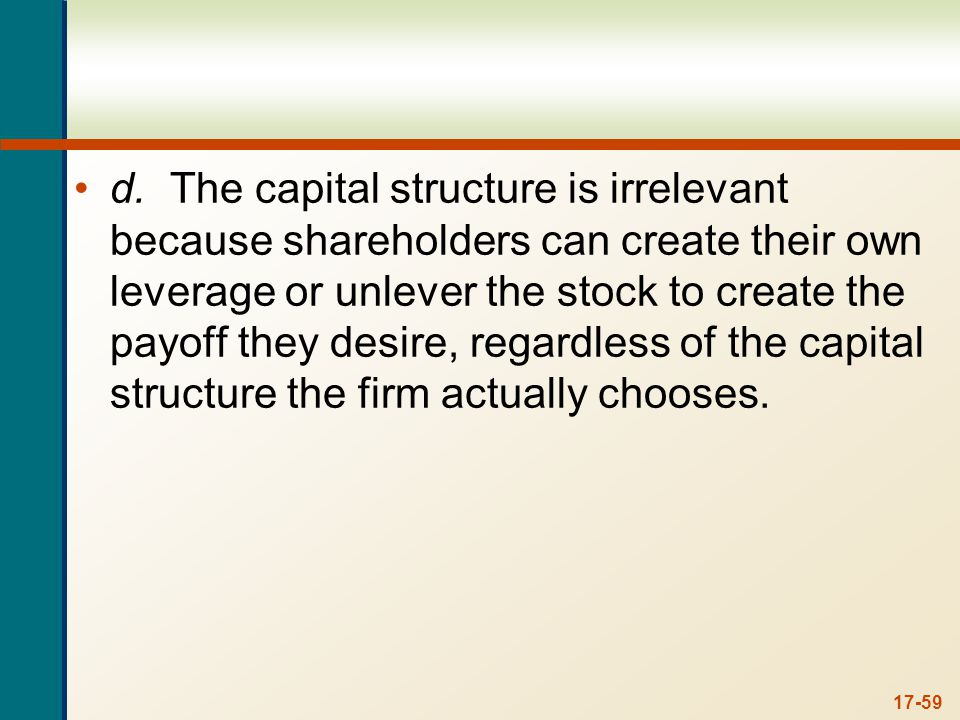 17-59 d.The capital structure is irrelevant because shareholders can create their own leverage or unlever the stock to create the payoff they desire,