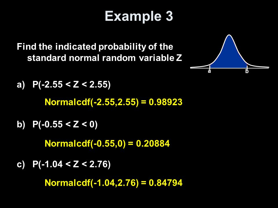 Example 3 Find the indicated probability of the standard normal random variable Z a)P(-2.55 < Z < 2.55) b)P(-0.55 < Z < 0) c)P(-1.04 < Z < 2.76) Norma