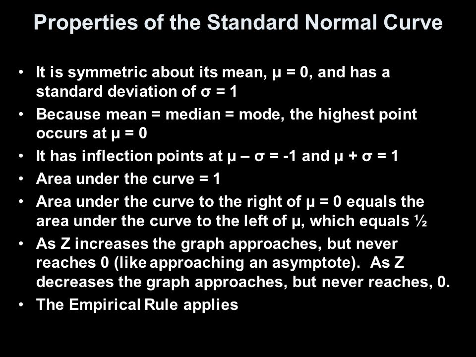 Properties of the Standard Normal Curve It is symmetric about its mean, μ = 0, and has a standard deviation of σ = 1 Because mean = median = mode, the