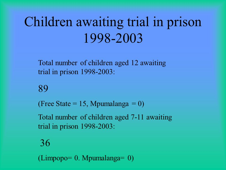 Children awaiting trial in prison 1998-2003 Total number of children aged 12 awaiting trial in prison 1998-2003: 89 (Free State = 15, Mpumalanga = 0) Total number of children aged 7-11 awaiting trial in prison 1998-2003: 36 (Limpopo= 0.