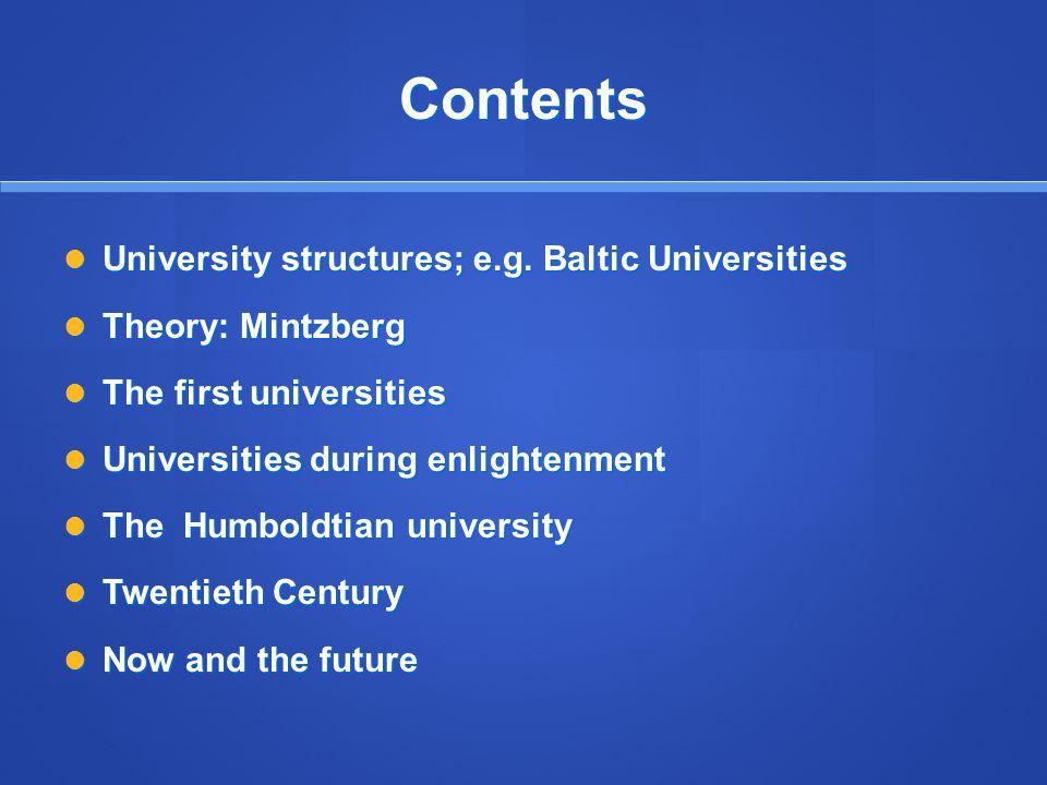 Contents University structures; e.g. Baltic Universities University structures; e.g.