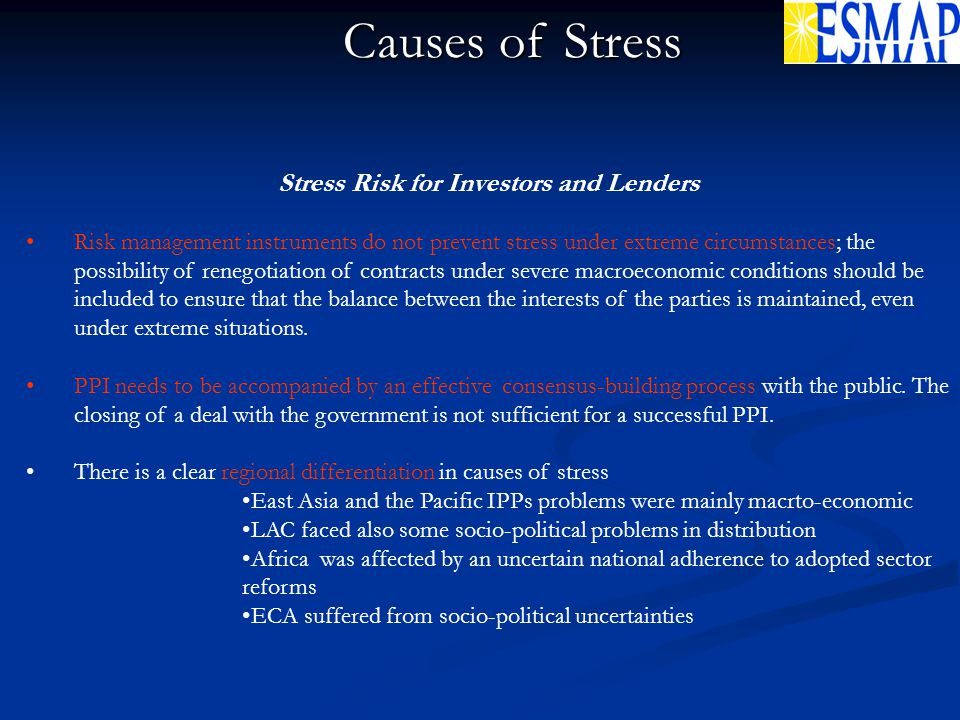 Stress Risk for Investors and Lenders Risk management instruments do not prevent stress under extreme circumstances; the possibility of renegotiation of contracts under severe macroeconomic conditions should be included to ensure that the balance between the interests of the parties is maintained, even under extreme situations.