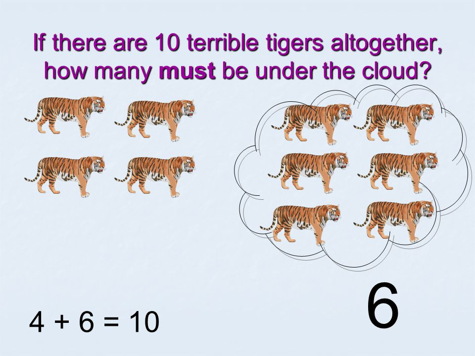 If there are 10 terrible tigers altogether, how many must be under the cloud 4 + = 10