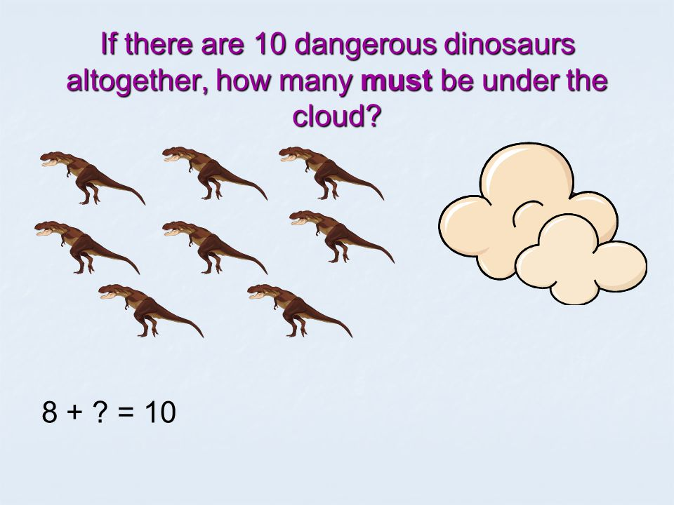 If there are 10 terrible tigers altogether, how many must be under the cloud 6 4 + 6 = 10