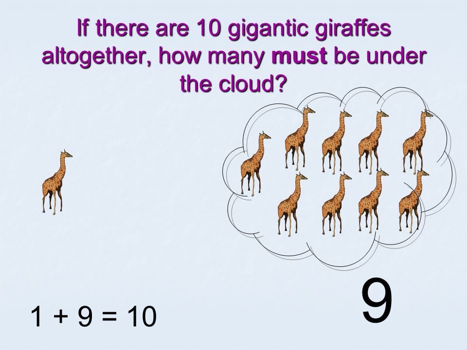 If there are 10 gigantic giraffes altogether, how many must be under the cloud 1 + = 10